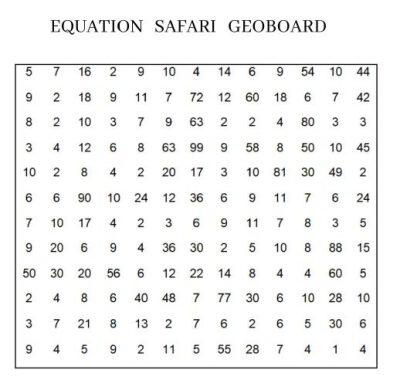 23. Fluency Exercise - Geo Safari Board